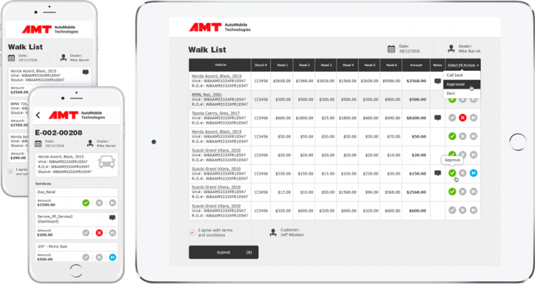 simulated AMT software computer screen and mobile device screens