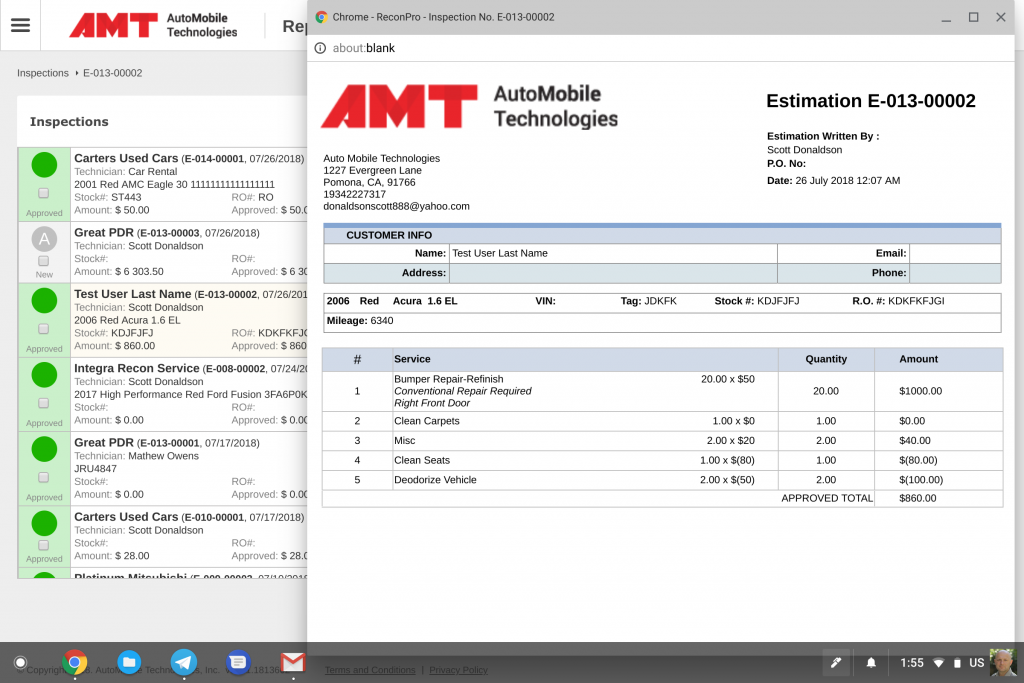 Estimate screen and printout