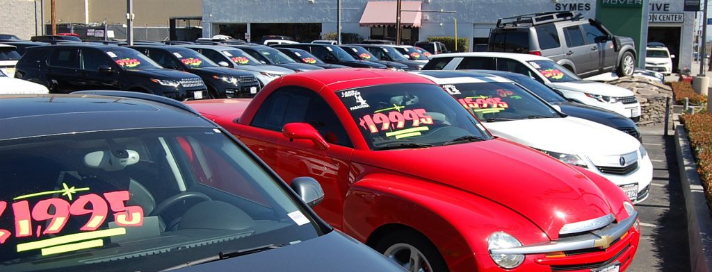 Used cars on dealer lot