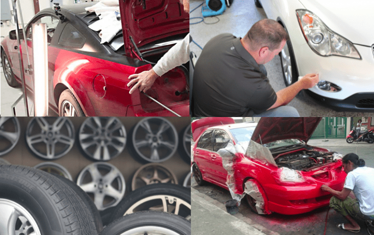 Four images of SMART repair areas - PDR, chip repair, wheel repair, and paint touch-up